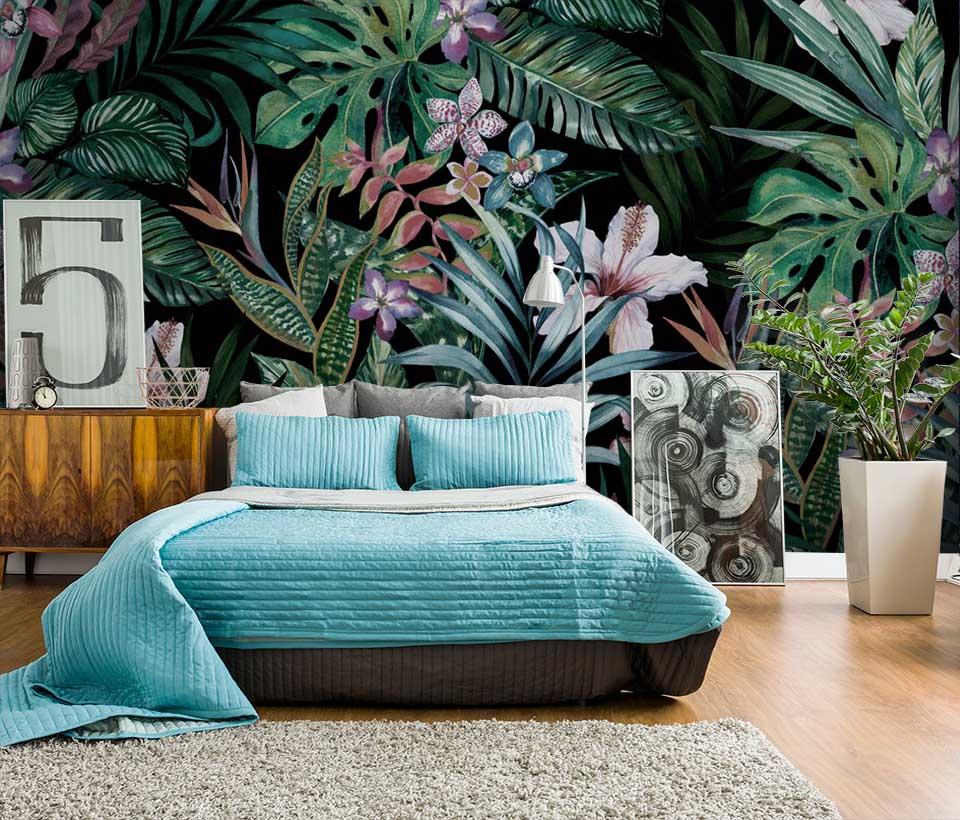 Фотообои тропические листья в интерьере спальни