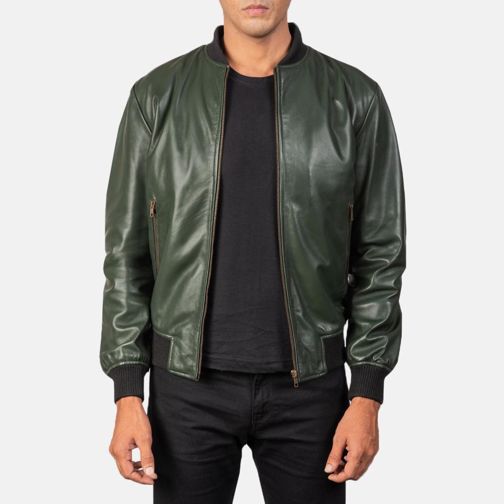 Shane Green Leather Bomber Jacket