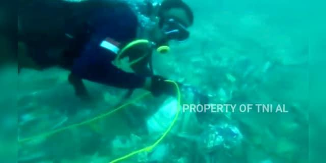 A diver is seen recovering debris strewn on the sea floor in Java Sea where Sriwijaya Air passenger jet crashed, in Indonesia. The search for the black boxes of a crashed Sriwijaya Air jet intensified Monday to boost the investigation into what caused the plane carrying 62 people to nosedive at high velocity into the Java Sea. (Indonesian Navy via AP)