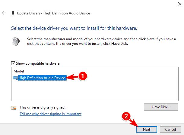 high definition audio play test tone on Windows 10