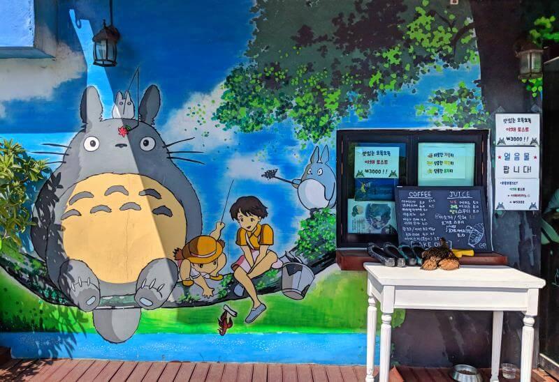 Totoro street art at Jaman Mural Village in Jeonju, South Korea