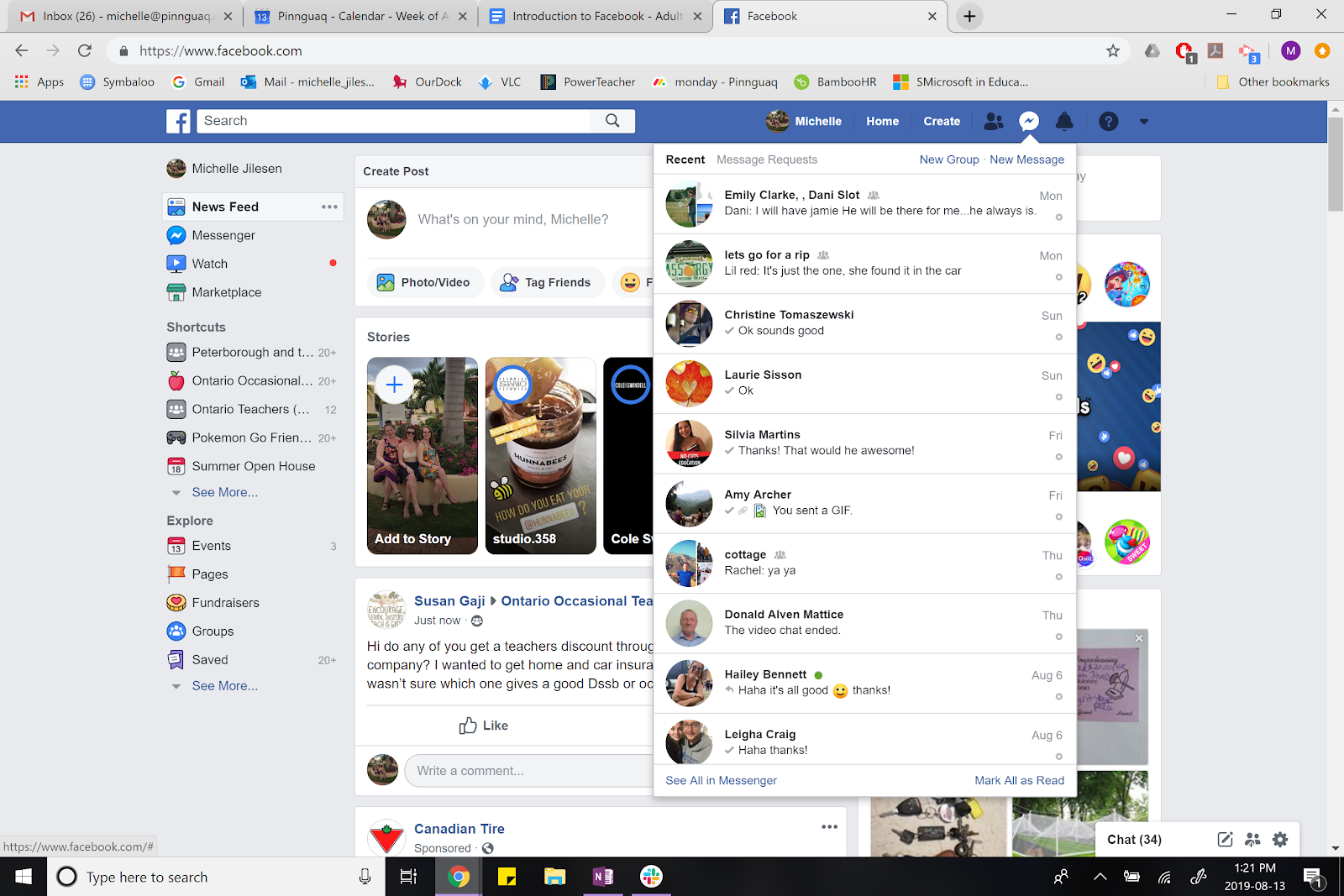 facebook page open with the messenger open.