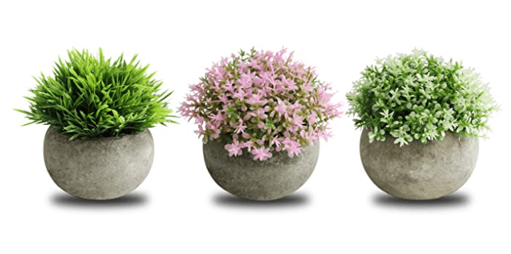 small artificial set of 3 plants