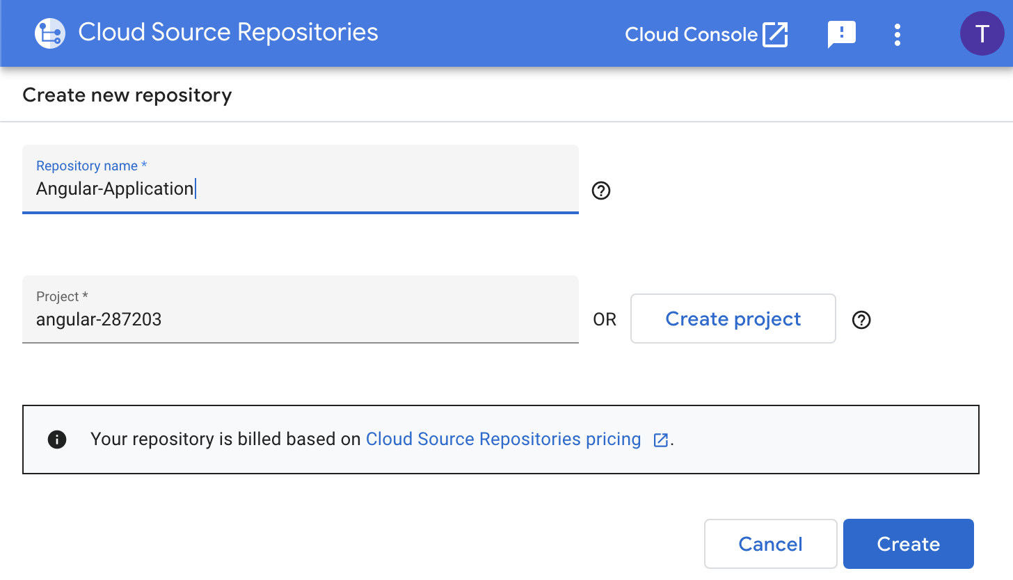 Creating an Angular 8 Application in Cloud Source Repositories