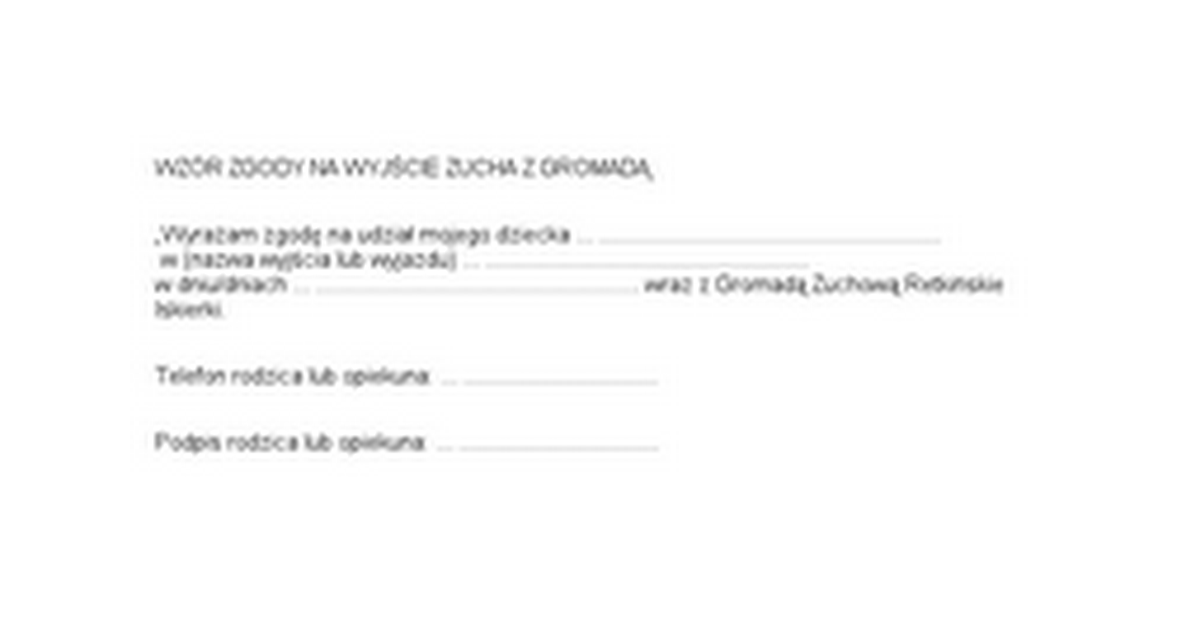 Wz 211 R Zgody Na WyjŚcie Zucha Z GromadĄ Google Docs