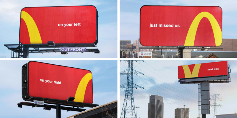 """Four McDonald's billboards with red backgrounds and parts of the golden arch on each, saying """"on your left"""", """"just missed us"""", """"on your right"""", and """"next exit""""."""