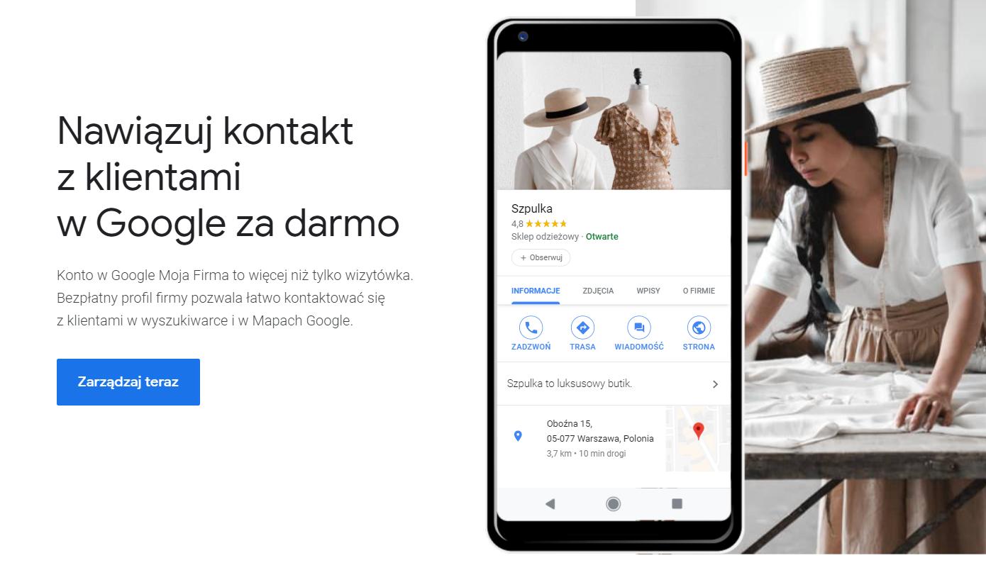 google moja firma widok startowy