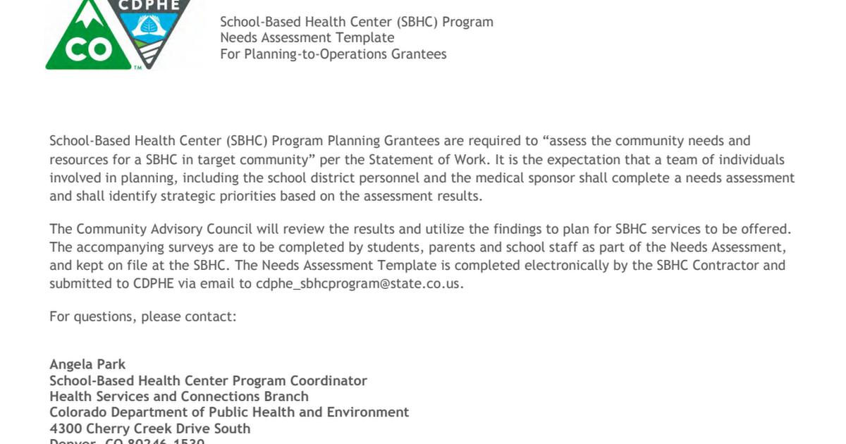 Sbhc Community Needs Assessment Sample Templatepdf Google Drive