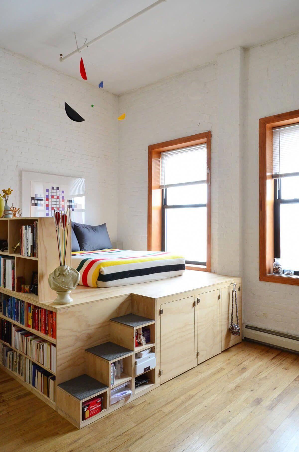 Giường ngủ kết hợp kệ sách gỗ công nghiệp
