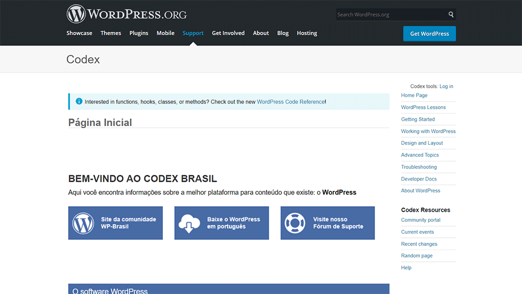 página inicial do codex do wordpres.org brasil
