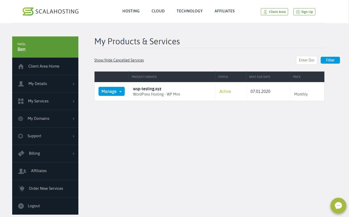 Đánh giá Scala Hosting - bảng điều khiển