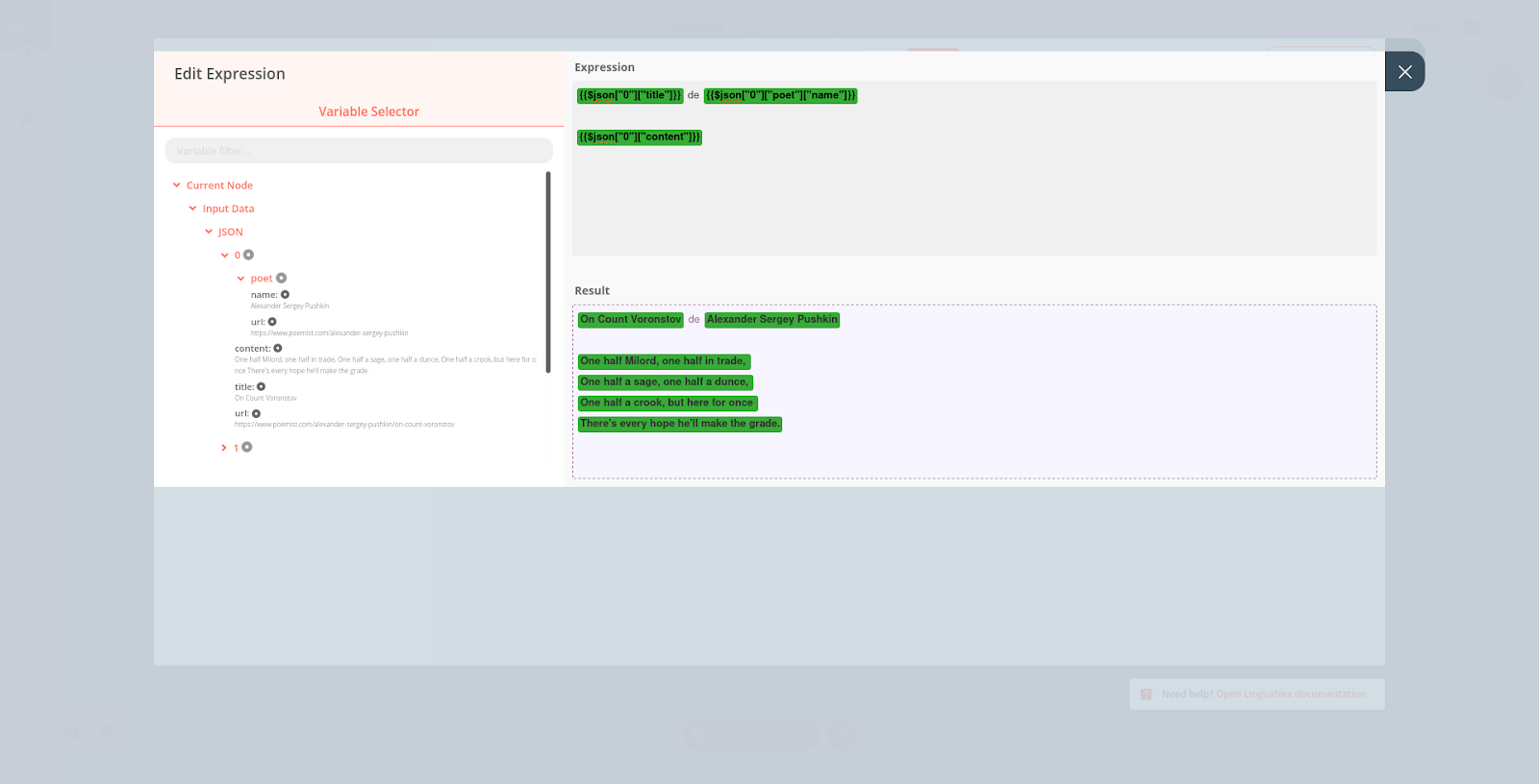 n8n Editor UI showing the expression setting for the LingvaNex node