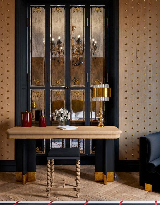 Bàn trang điểm làm từ một loại gỗ tỏa mùi hương thoảng thoảng, tạo cảm giác dễ chịu cho cả căn phòng.