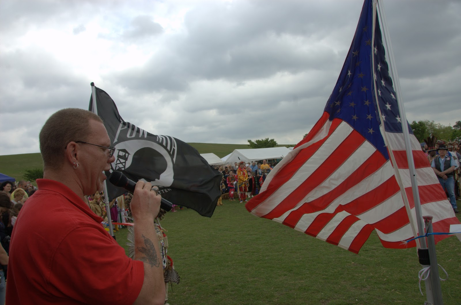 At a Virginia Beach pow wow giving a blessing to Veterans - Photo: Vincent Schilling