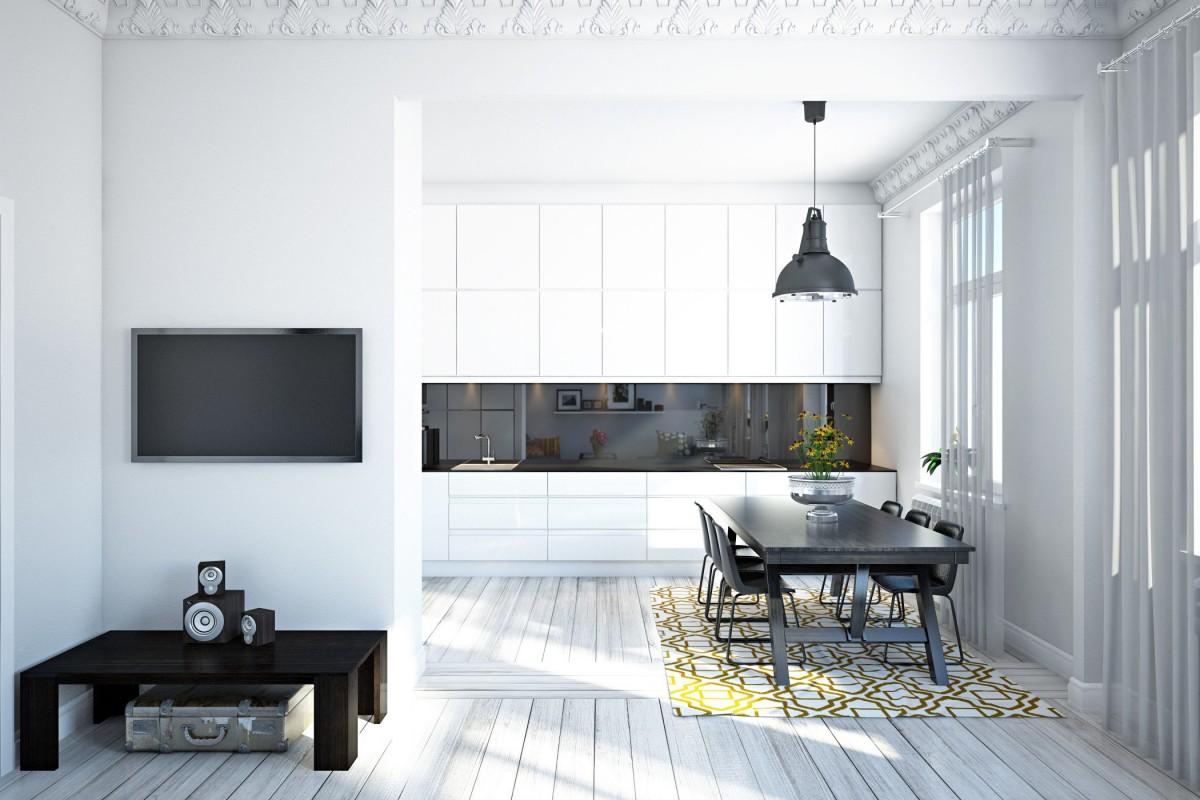 Matériaux pour sols, plafonds et murs cuisine style scandinave