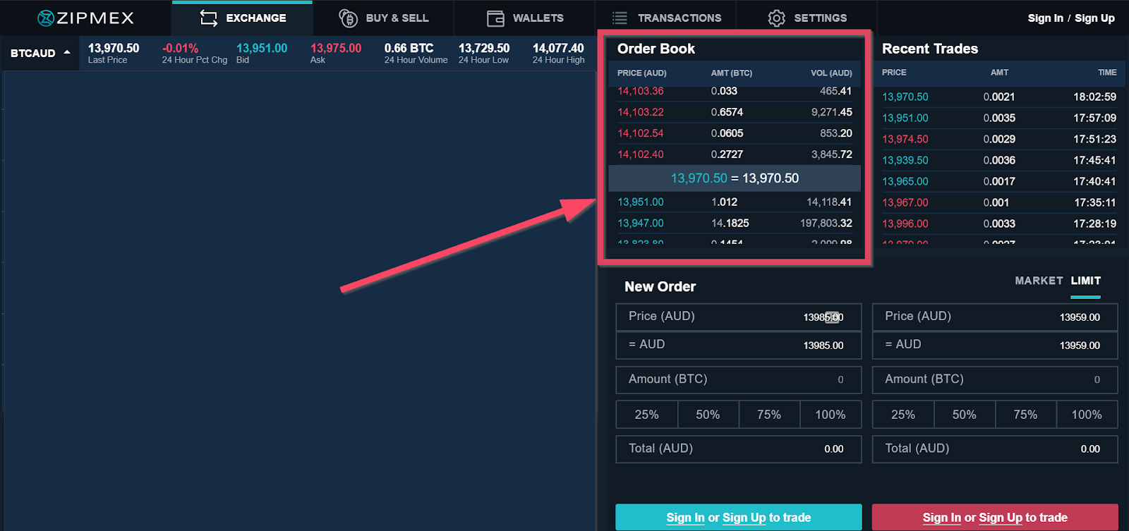 Order Book sample on a trading platform