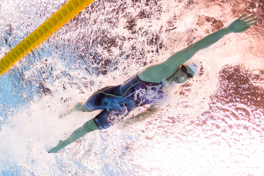 USA's Katie Ledecky competes in a Women's 200m Freestyle heat during the swimming event at the Rio 2016 Olympic Games at the Olympic Aquatics Stadium in Rio de Janeiro on August 8, 2016.  / AFP PHOTO / François-Xavier MARIT