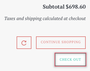 Selecting checkout button on the cart page
