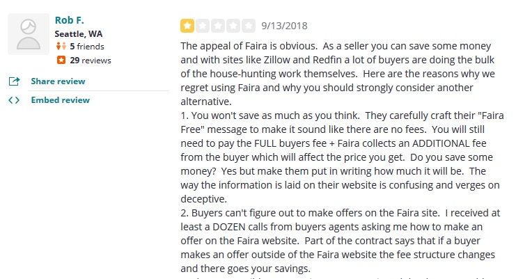 Faira negative review Yelp