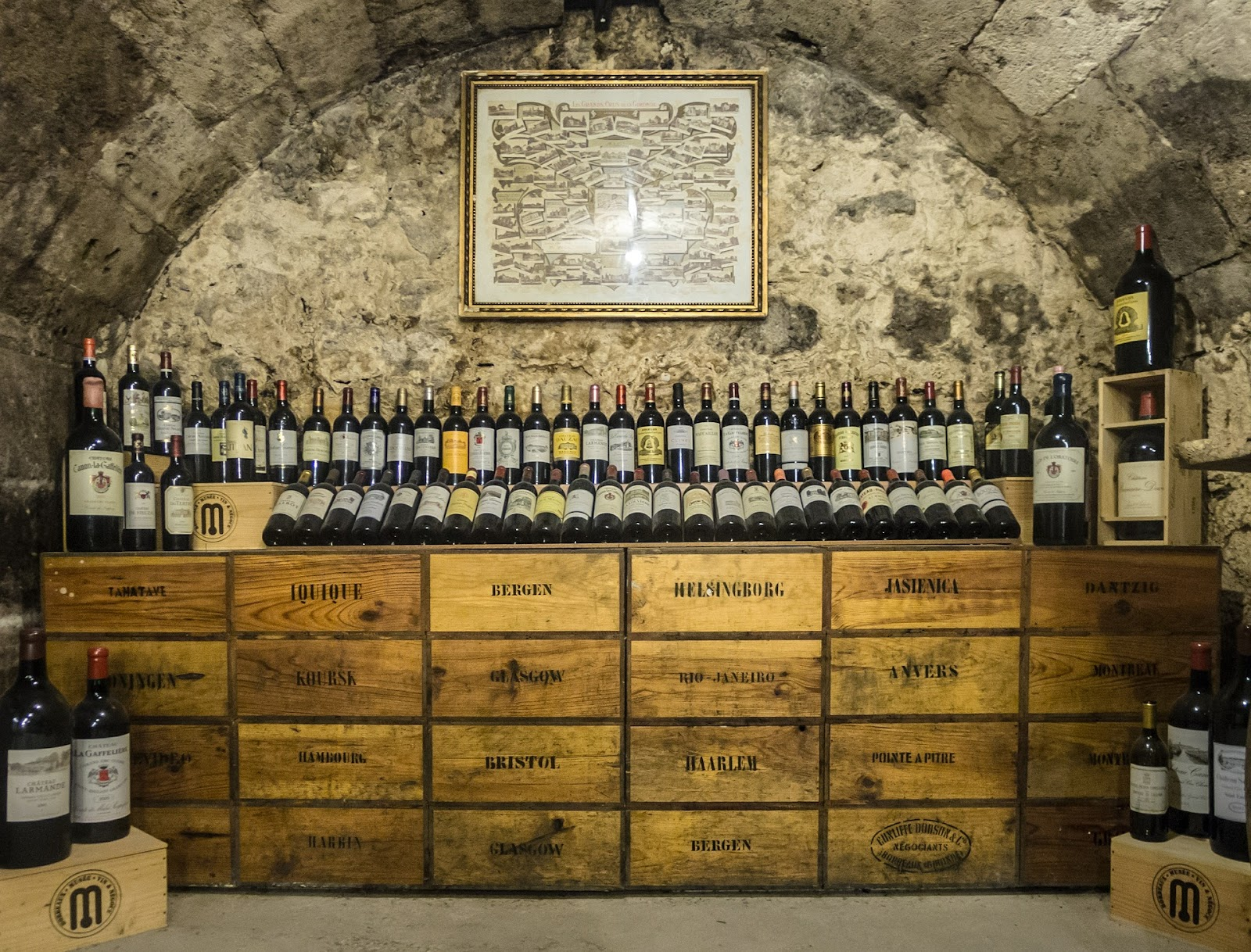 Wine stacked in a wine cellar; wine guide