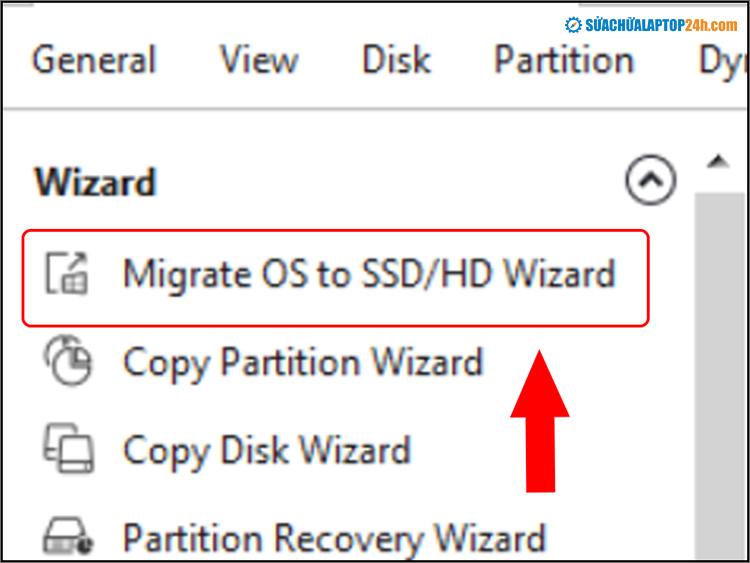 Tại giao diện chính chọn Migrate OS to SSD/HD