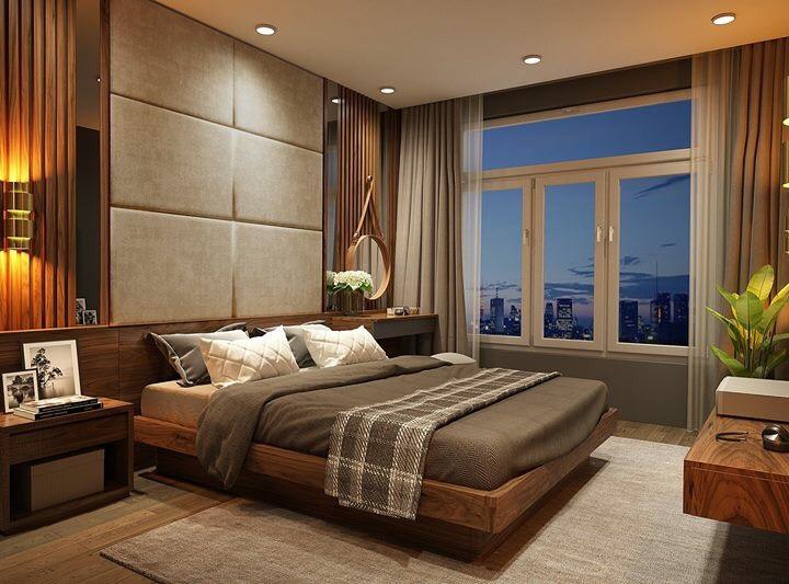 Phòng ngủ chung cư vừa ấm áp và hiện đại