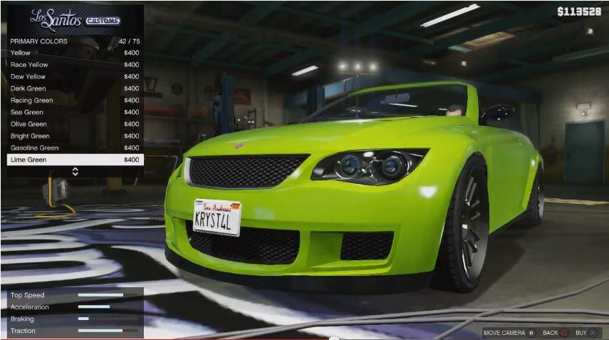 Grünes Cabrio in der Los Santos Customs Tuningwerkstatt