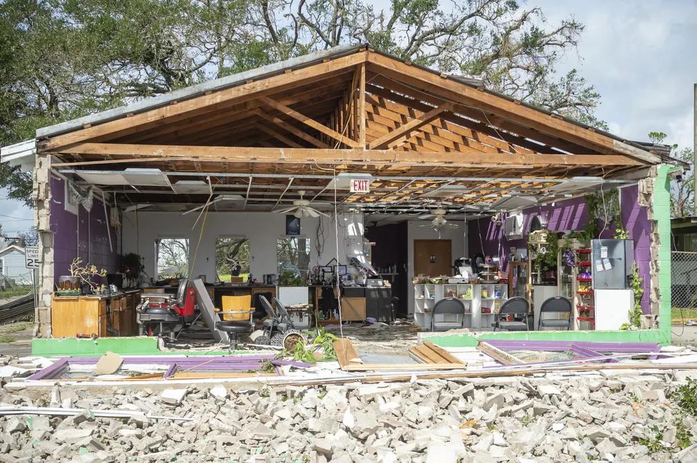 building damaged by Hurricane Ida