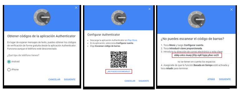 Pasos para configurar la aplicación Authenticator en Google.