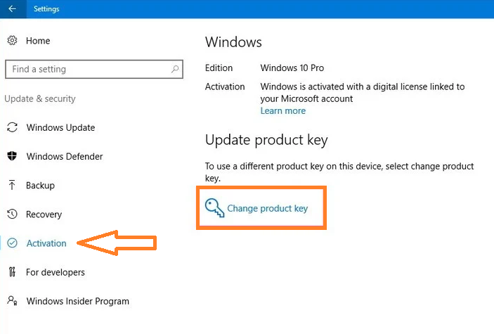 change the product key by using Settings