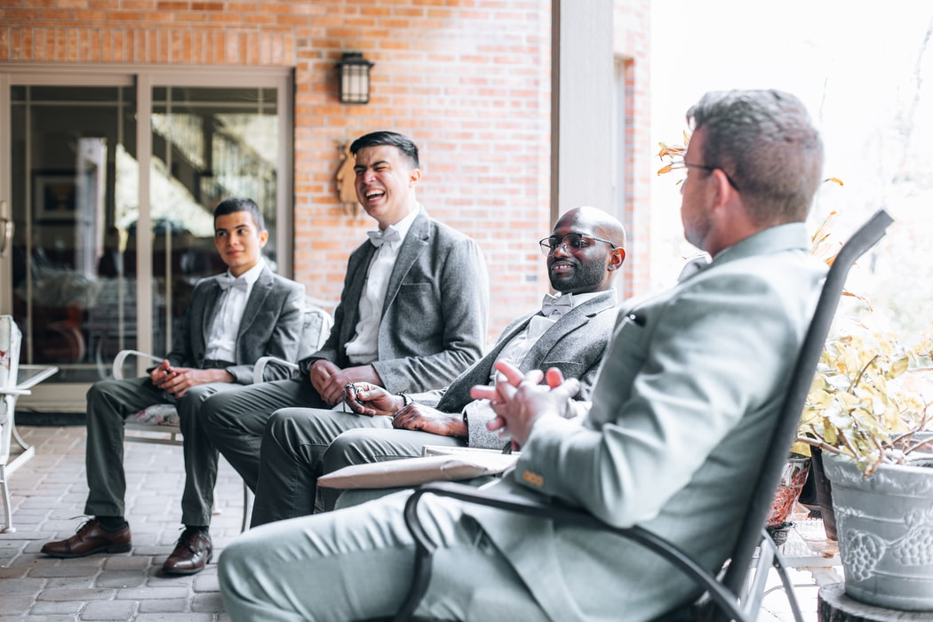 Groomsmen in suits at the wedding party
