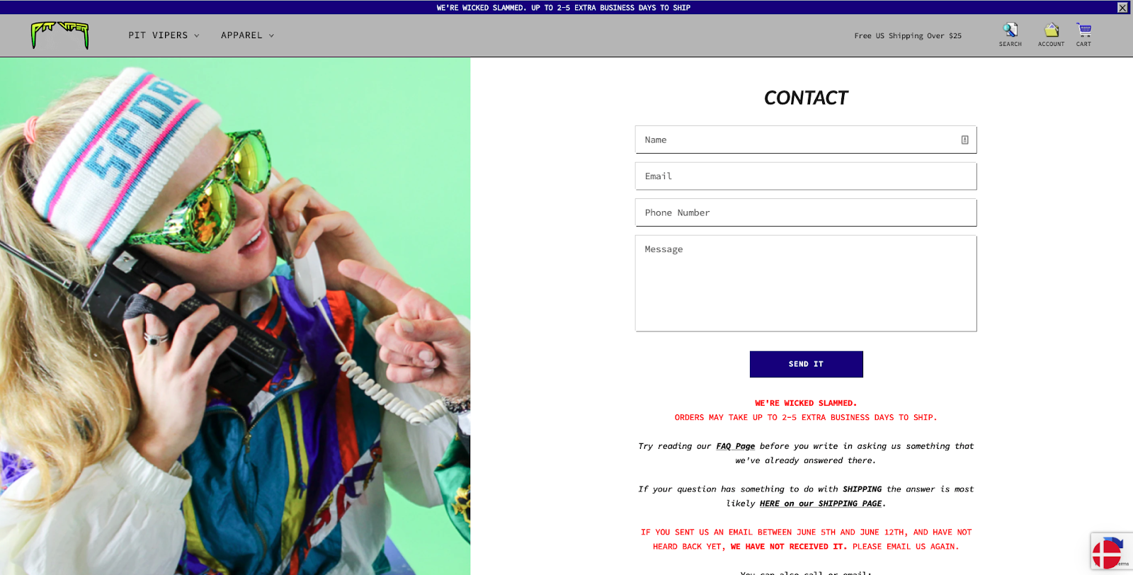 Pit Viper Contact Page