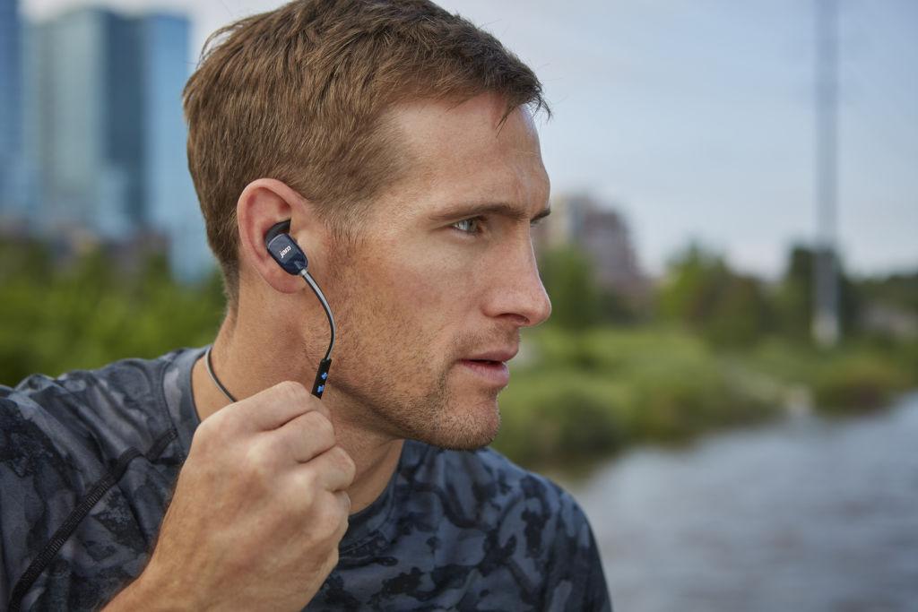 Athlete with wireless headphones
