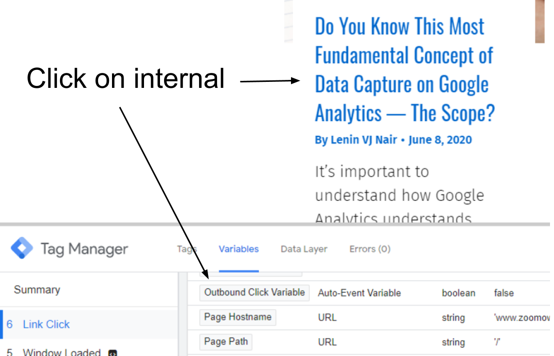 Outbound link click variable for internal/external link clicks