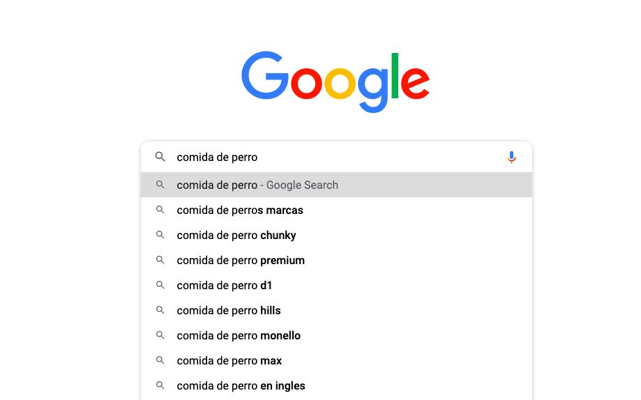 sugerencias palabras clave Google