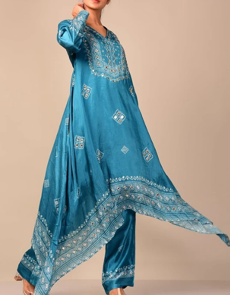 Bright Blue Bandhani Han Embroidery Kurti Set