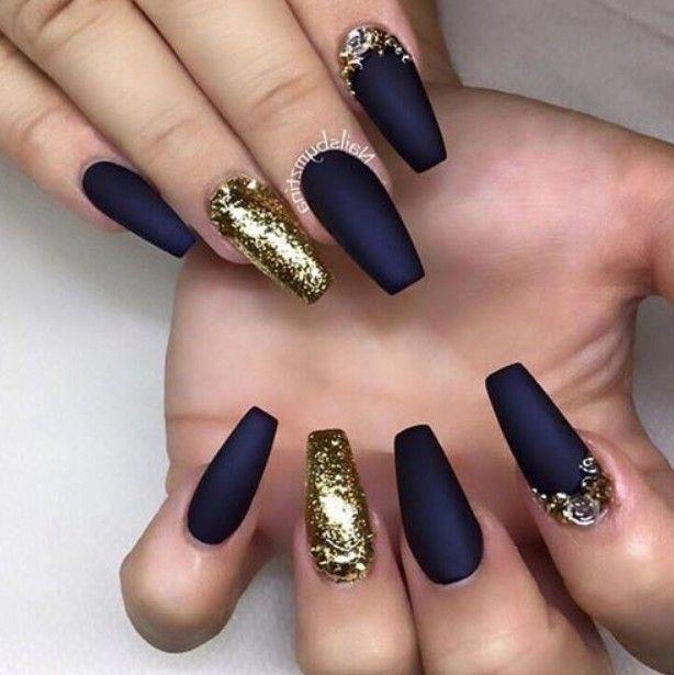 Matte black and golden nails