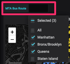 Drop down picker showing 3 MTA Bus Route selections (Grafana UI)