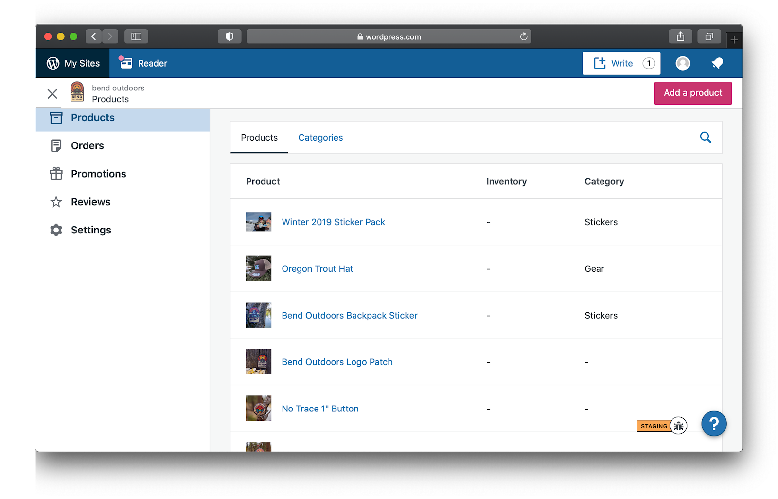 Screenshot of the obsolete Product Management section