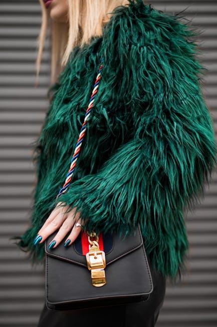 Woman Wearing Green Fur Jacket