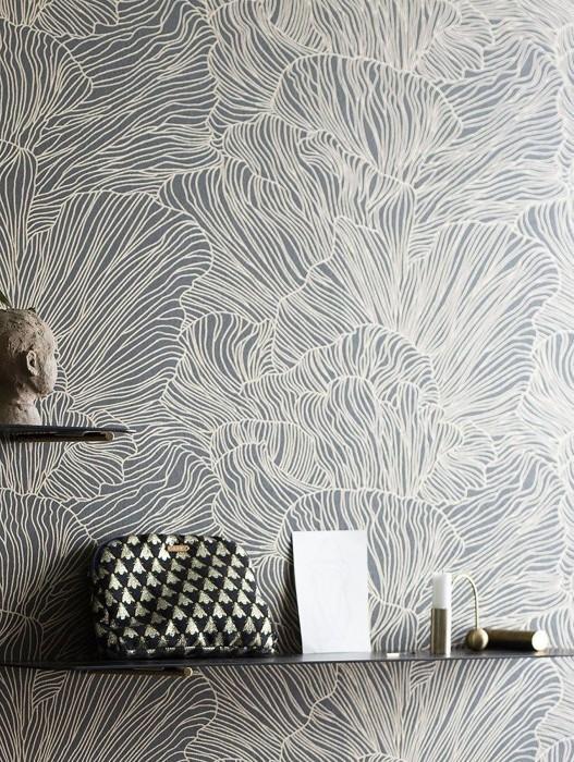 Papier peint Coral Mat Coraux Gris ombre Beige nacré