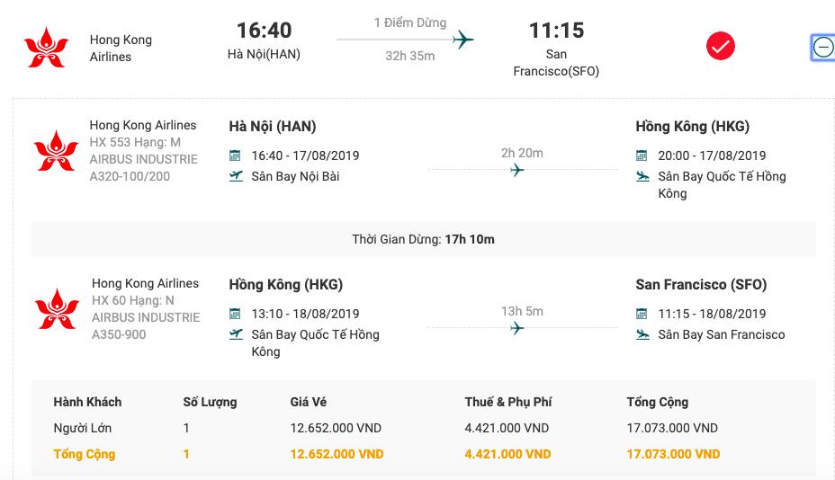 Vé máy bay từ Hà Nội đi San Francisco của Hồng Kông Airlines