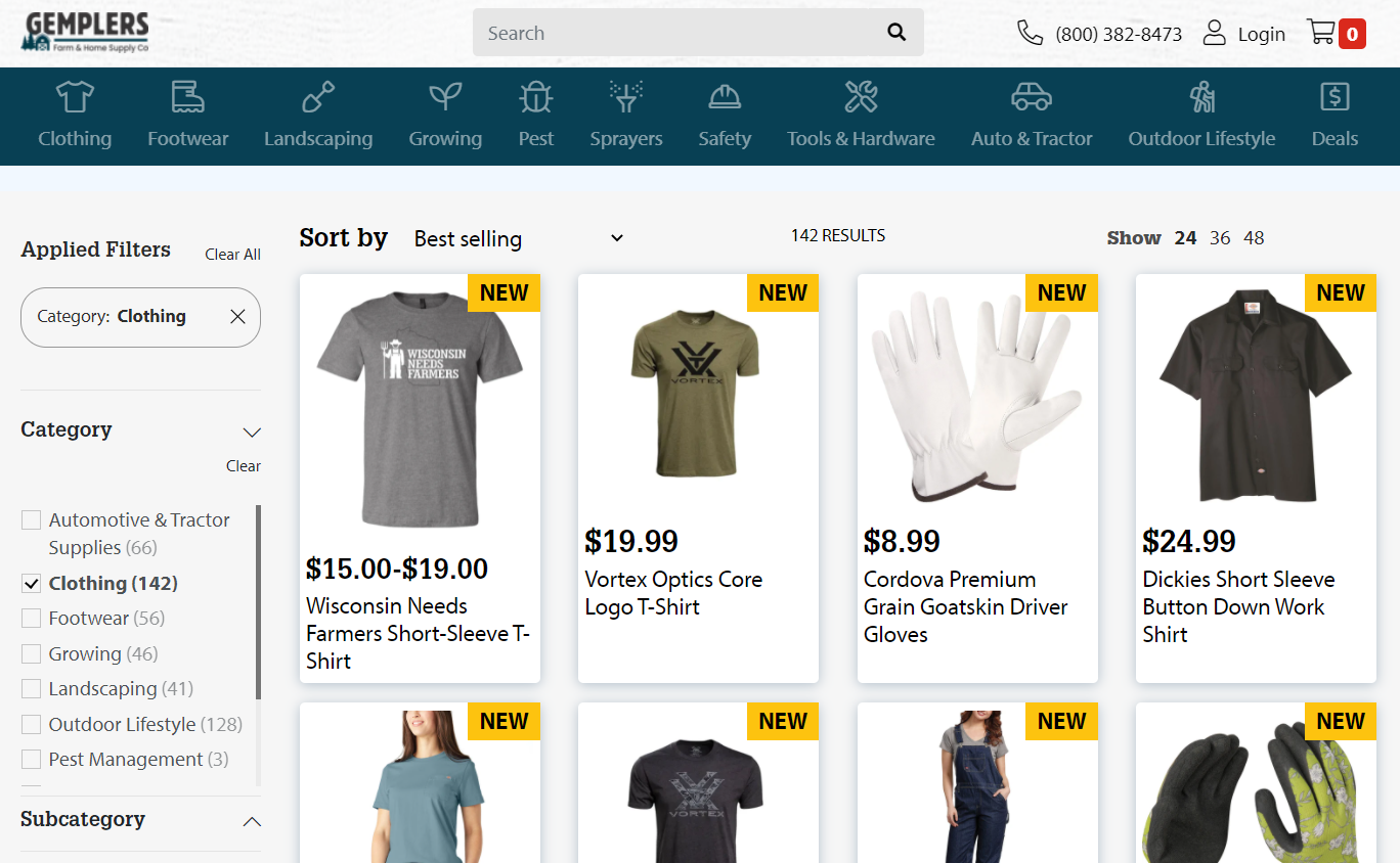 Gempler's retail store collection page featuring t-shirts and gloves