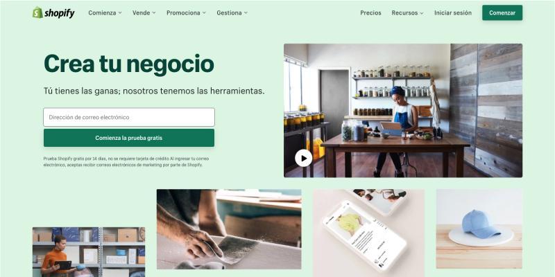 Sitio web de Shopify