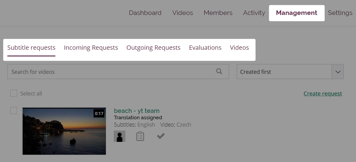Management page in an Amara team with subtitle requests