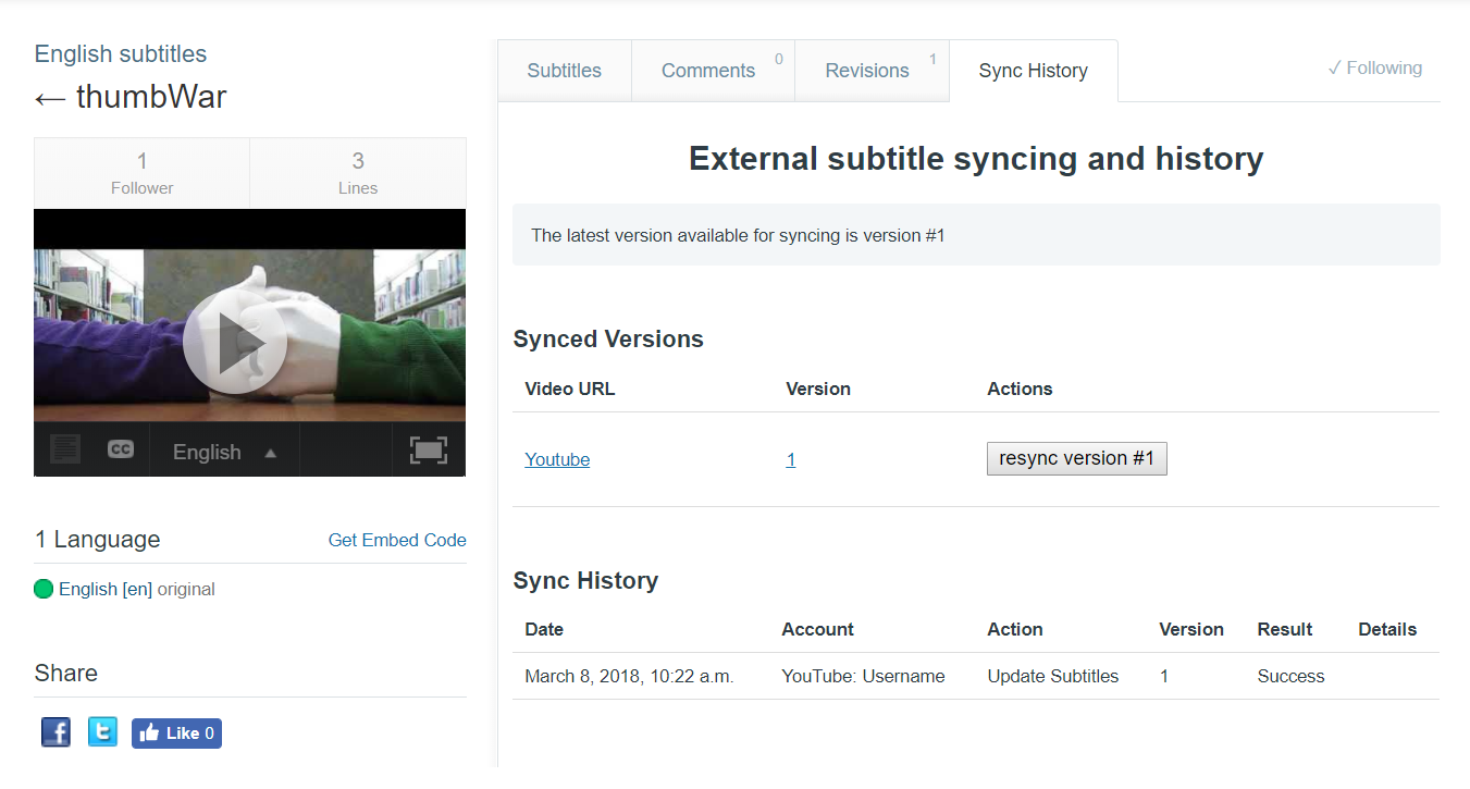 Screenshot of Sync History tab for a set of subtitles on a Flexible team or in public library
