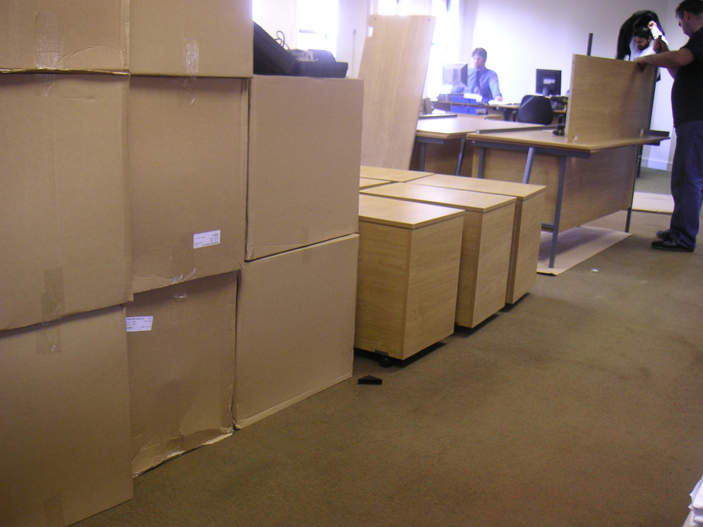 getting boxes ready to set up a new office