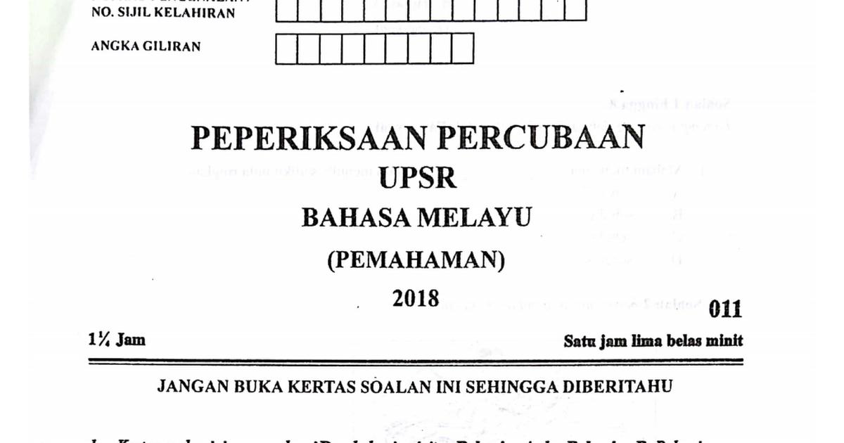 Kelantan Percubaan 2018 Bm Pemahaman Pdf Google Drive