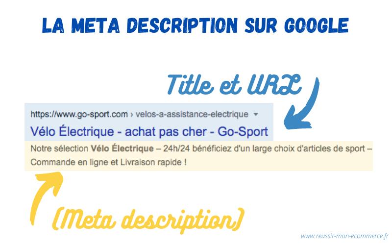 Affichage de la meta description sur Google.