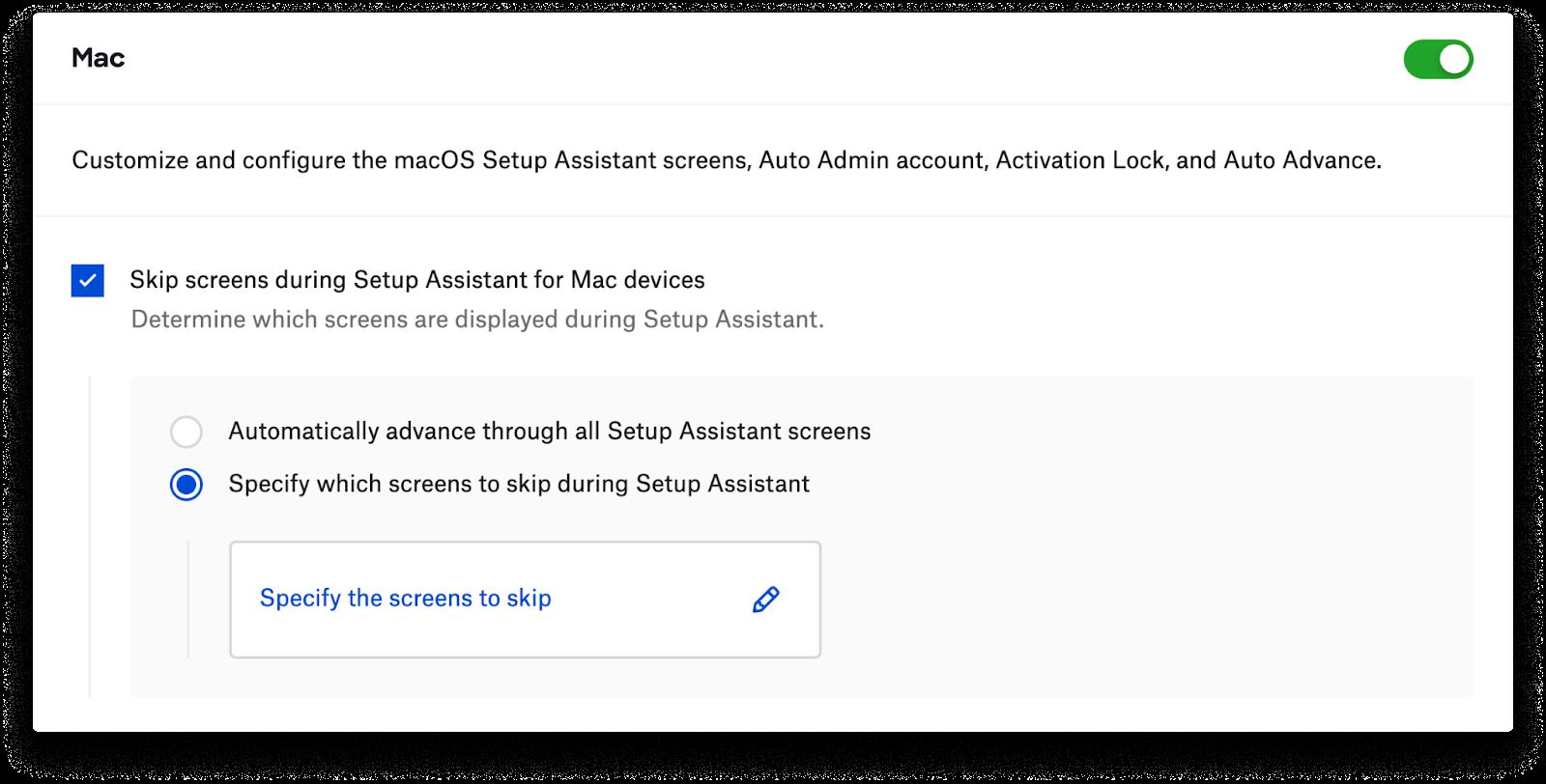 Skip-screen interface.
